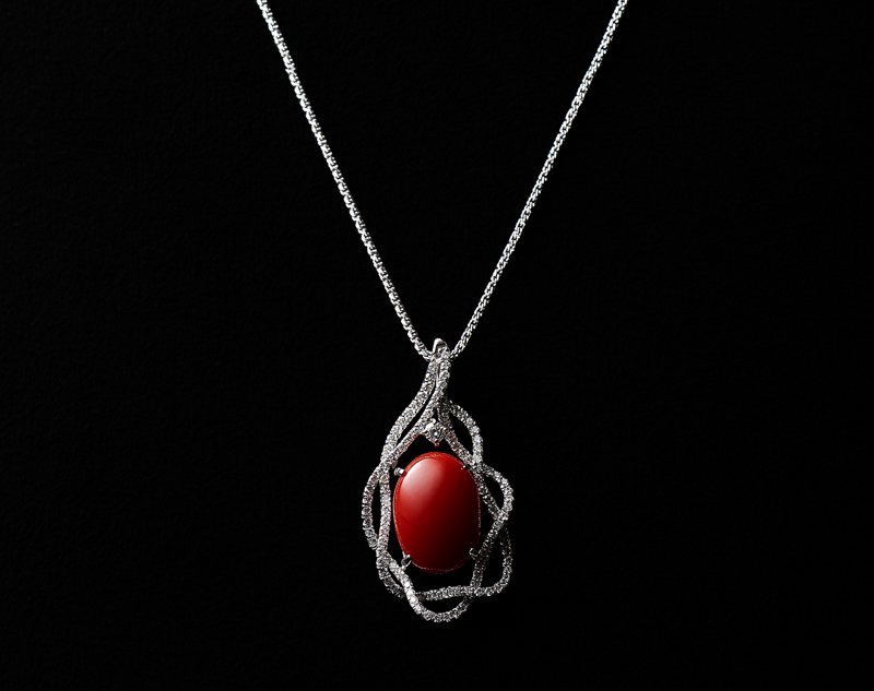 Red coral pendant jewelry glous k18wg japan made blood red coral with diamonds pendant necklace aloadofball Images